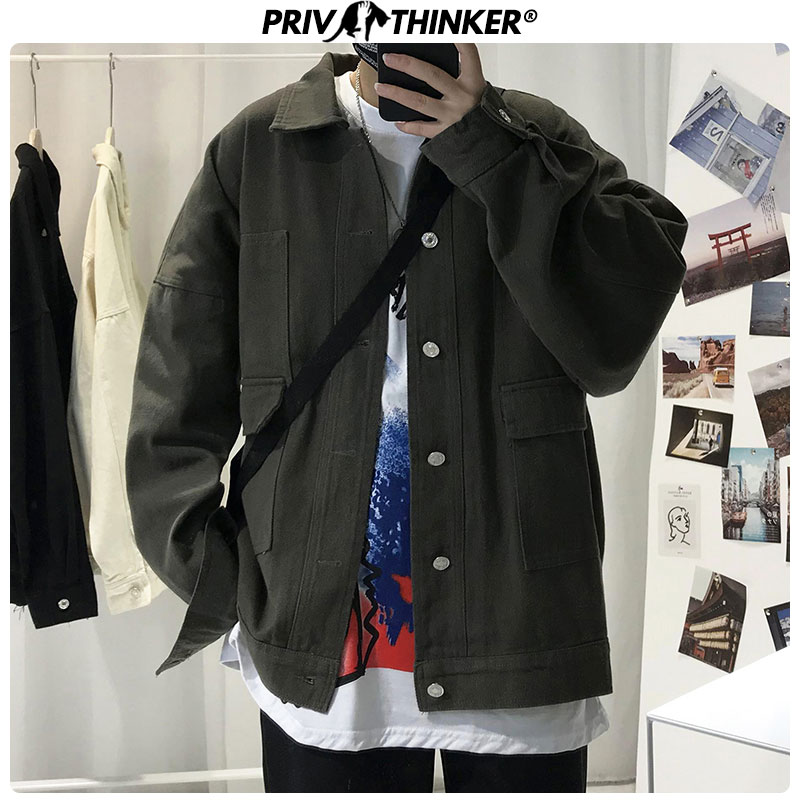 Privathinker Hip Hop Safari Style Men's Jackets 2020 Spring Solid Black Man Jacket Outwear Streetwear Casual Unisex Coat Clothes