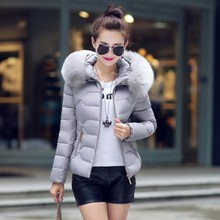 Big size Hood Big Fur Collar Cotton Padded Short CoatHooded Down Jacket Winter lady Padded  Thickening Women Cotton Outerwear