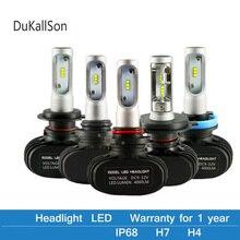 цена на 2PCS S1 Auto H3 H8 H11 H4 Led H7 Bulb Car Headlight High Low Beam 50W 8000LM 12V 24V Fog Light Kit CSP/SMD Chips Car Lights