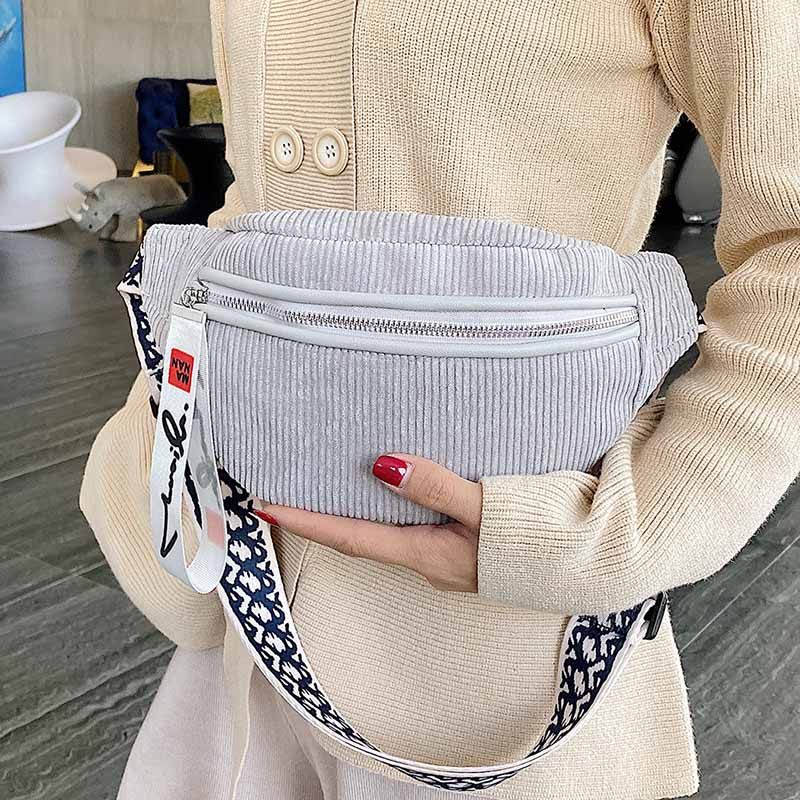 Large Capacity Women Waist Bag Corduroy Belt Bags Shoulder Crossbody Chest Bag Brand Designer Female Fanny Pack Banana Hip Purse