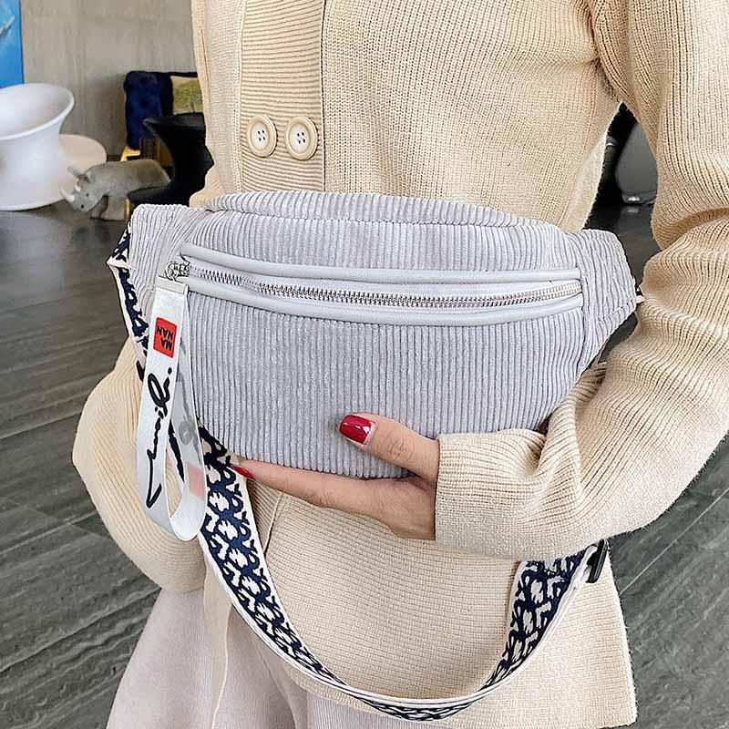 Large Capacity Women Waist Bag Corduroy Belt Bags Shoulder Crossbody Chest Bag Brand Designer Female Fanny Pack Banana Hip Purse