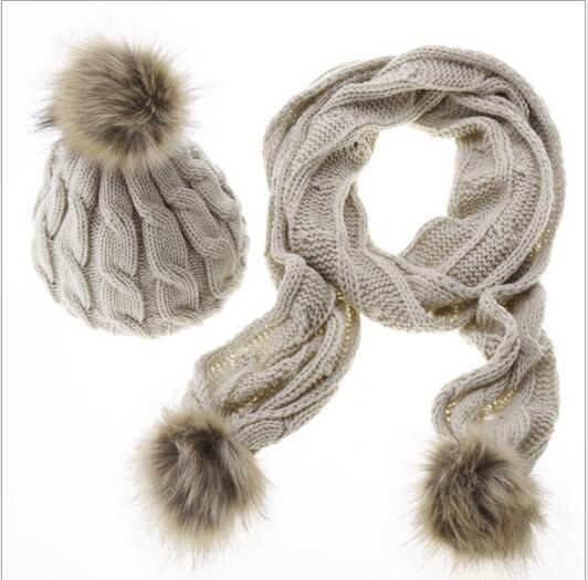 New Fashion Women Girl Wool Knit Beanie Thick Hat Scarf 2 Pieces Set Winter Warm Lady Fur Pom Poms Soft Cap Scarves Hat Set