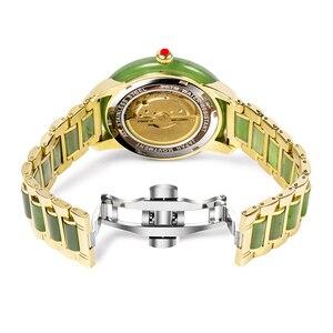 Image 4 - 自然なヒスイ防水腕時計女性機械式時計ジャスパー視点中空ケース高クラフト救済内部リロイ Mujer