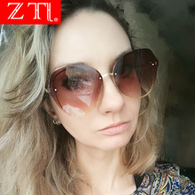 ZT Women Brand Designer Oversized Gradient Sun Glasses Shades Oculo Glittery Frame Round Rimless Sunglasses