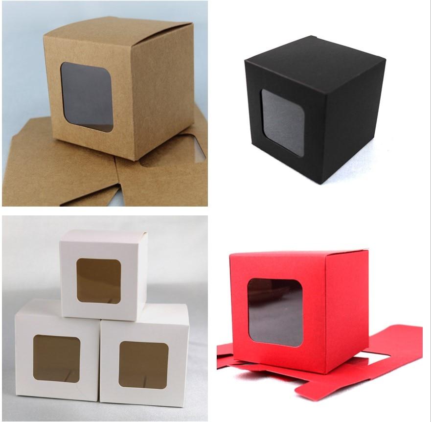 100 шт./лот белая/черная/красная/крафт-бумага, Подарочная коробка, квадратная картонная коробка с прозрачным окном из ПВХ, упаковка для конфет...