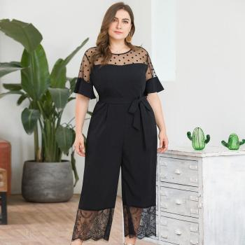 2019 Fashion Casual Solid Jumpsuit Women's Plus Size Short-Sleeved Mesh Stitching Lace Wide Leg One-piece Pants Mameluco Mujer Y