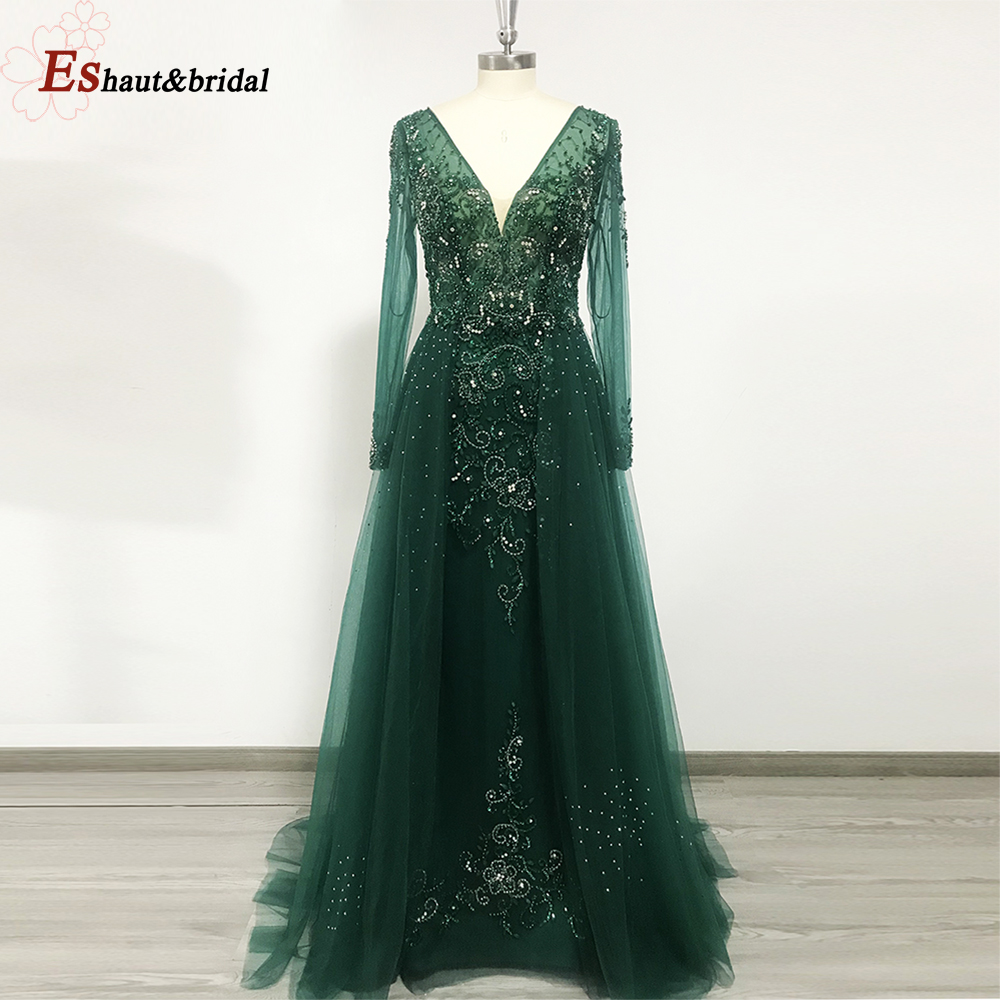 Elegant Mermaid Evening Dress For Women 2020 Long Sleeves V Neck Luxury Crystal Tuttle Plus Size Formal Party Gowns
