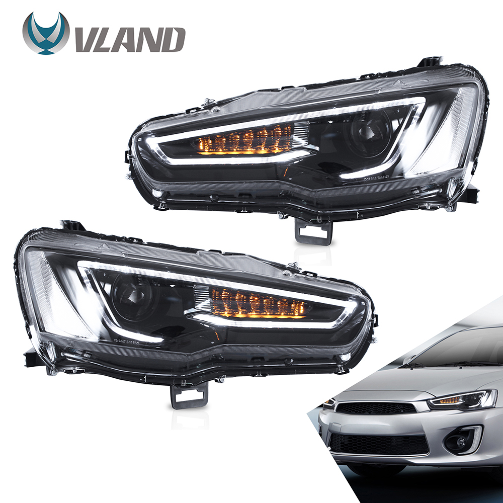 VLAND Headlamp Car Headlights Assembly For 2008-2018 Mitsubishi Lancer EVO X Head Light With Moving Turn Signal Dual Beam Lens
