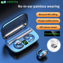 S19 Bone Conduction Bluetooth Earphone Painless Wearing Earbuds Hanging Semi in ear earpiece 2200 mAh Power Bank Sports Headsets