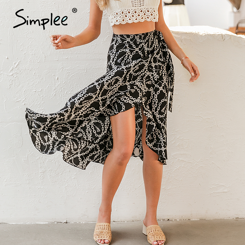 Simplee Fashion Chain Print Women Midi Skirt Elegant Lace Up Mid Waist Female Wrap Skirt Spring Summer Chic Ladies Skirts Bottom