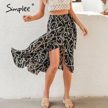 Simplee mode chaîne impression femmes jupe midi élégant à lacets taille moyenne femme jupe portefeuille printemps été chic dames jupes bas
