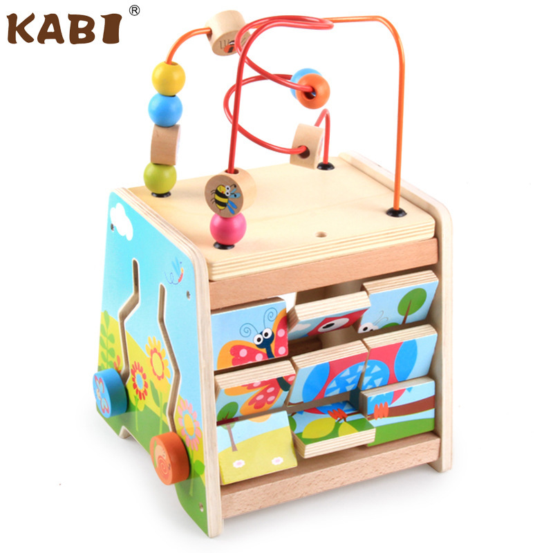 Children Multi-functional Box Wooden Educational Toys Multi-functional Bead-stringing Toy