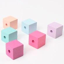 15mm 20 milímetros Mista Padrão Quadrado Cubo De Madeira Inacabado Geométrica 10pcs Natural Spacer Beads Para fazer Jóias DIY MT2028