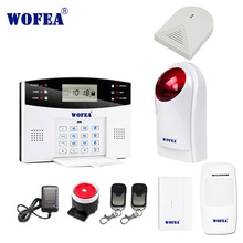 wofea home security GSM alarm system with 99 wireless zone and 7 wired zone flash siren set LCD display