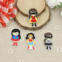 10pcs Criativa Dos Desenhos Animados do Herói Homem Morcego Super Hero Planar Resina Flatback Resina DIY Craft para Decoração Holiday party presente(China)