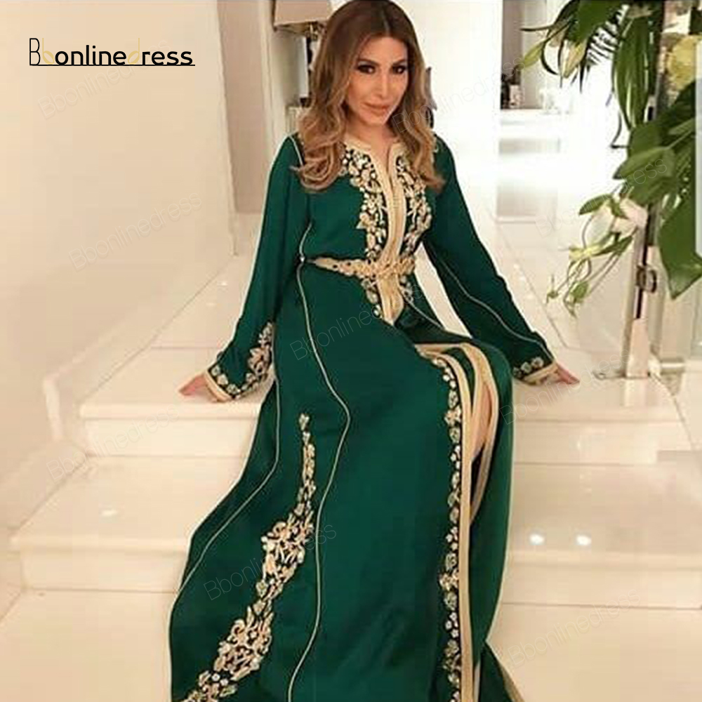 Fashion Green Moroccan Kaftan Evening Dresses Appliques Beaded Long Evening Dress Full Sleeve Arabic Muslim Party-Dress