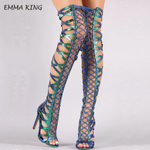EMMA KING Laser Summer Thigh High Boots Peep Toe Women High Heels Sandals Cross-tied Ladies Over The Knee Boots Gladiator Sandal недорого