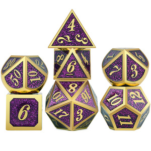 Glitter DnD Metal Dice RPG MTG Dice Italics Font Dice Include Dice Pouch for Tabletop RPGs(China)