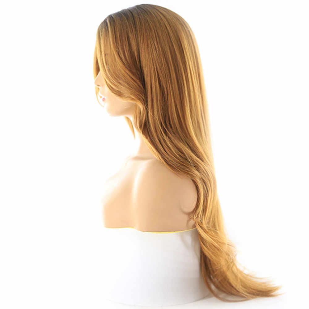 Ombre blond różowy kolor koronkowa część syntetyczne peruki do włosów z grzywką środkowe/przedziałek z boku X-TRESS długa koronkowa peruka z prostymi włosami dla czarnych kobiet