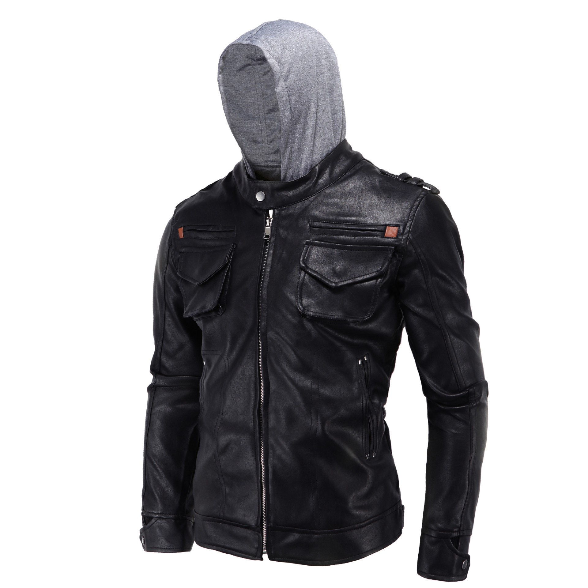2016 Europe And America MEN'S Wear Large Size Carrie Leather Coat Locomotive Hooded Slim Fit Leather Coat D026