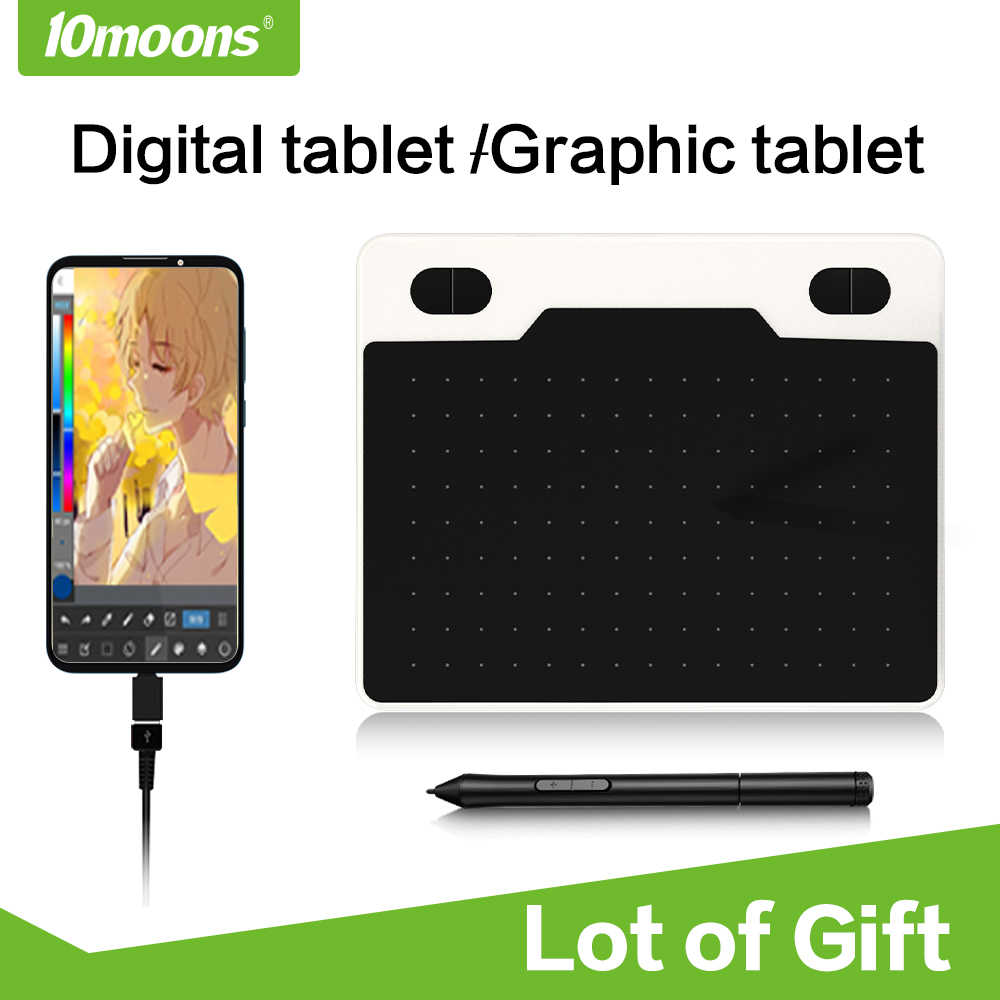10 Moons 6 Inch Ultralight Grafische Tablet 8192 Niveaus Digitale Tekening Tablet Batterij-Gratis Pen Compatibel Android Apparaat