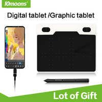10 luas 6 Polegada ultralight tablet gráfico 8192 níveis de desenho digital tablet bateria-livre caneta dispositivo android compatível