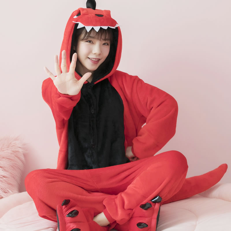 2020 New Style Lounge Wear Dinosaur Flannel Animal Conjoined Sleepwear Cartoon Men and Women Winter Thickening Dropshipping