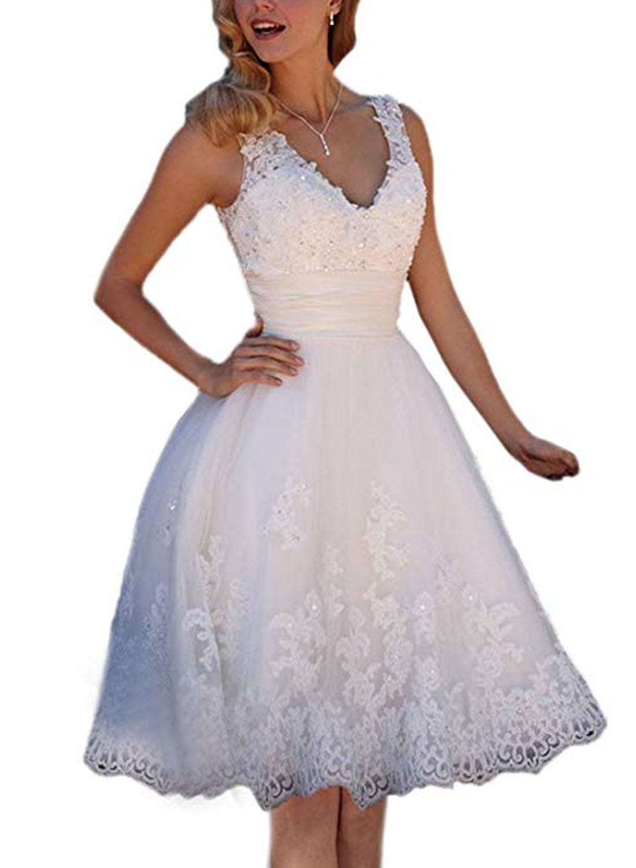 2019 Short Wedding Dresses Bridal Gowns Embroidery Vestidos De Novia V-neck Lace Up Satin Beaded Corset Lace Up BackPlus Size
