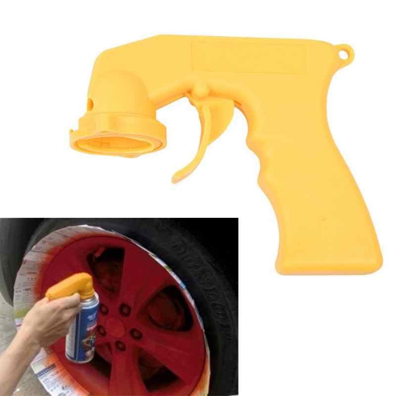 Uniwersalny samoprzylepny adapter do natrysku do pielęgnacji lakieru uchwyt pistoletu aerozolowego z antypoślizgowe blokada spustu kołnierz konserwacja samochodu