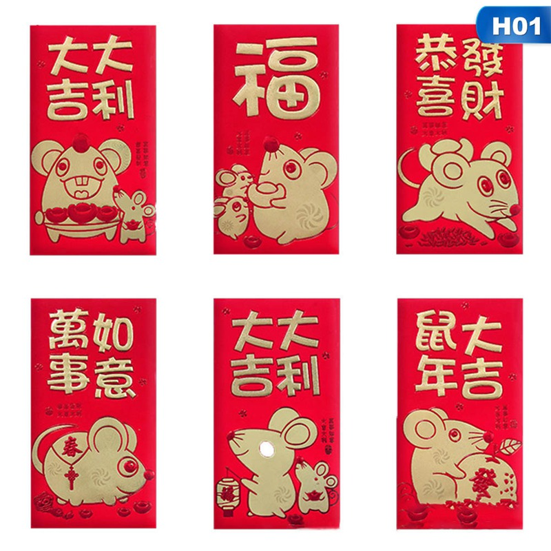 6Pcs/Set Thick Paper 3D Words Patterns Cartoon Rat Red Packet 2020 Chinese New Year Red Envelope