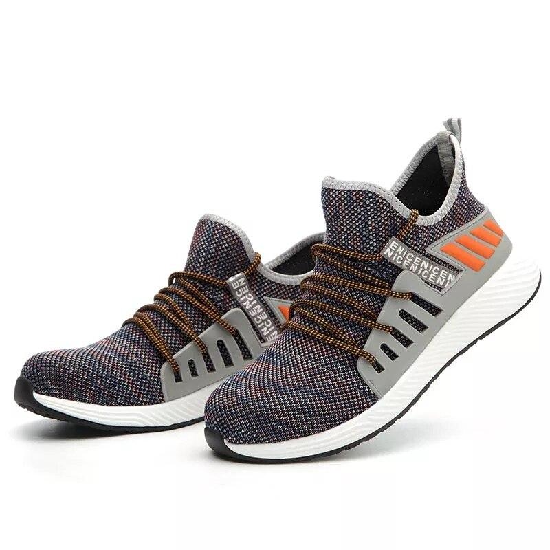 Новая Рабочая защитная обувь, модные кроссовки, ультра-светильник, мягкая подошва, мужские, дышащие, не разбивающиеся, промышленные, со стальным носком, рабочие ботинки