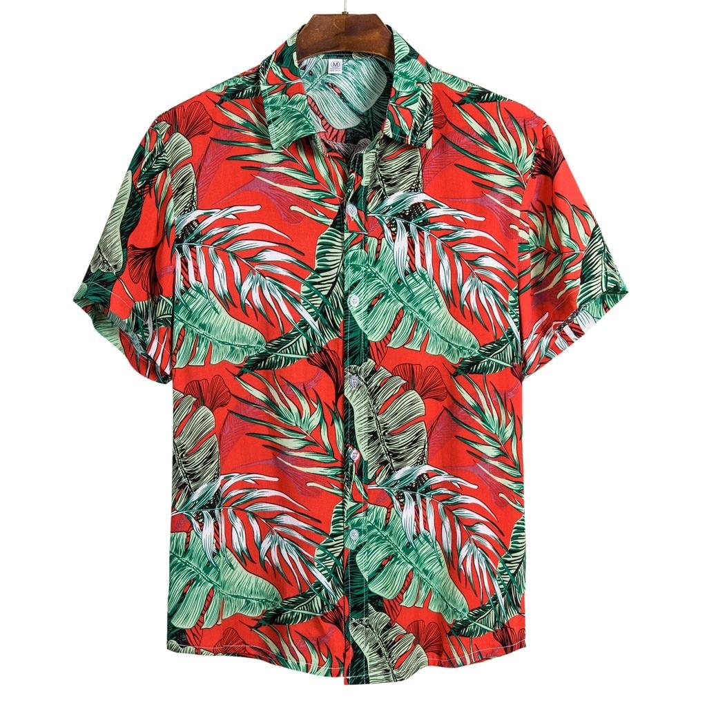 2020 Men Summer Ethnic Short Sleeve Casual Printing Hawaiian Shirt Blouse Plus Size M-3XL Shirts Camisa Social Masculina Chemise