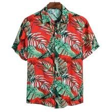 Blouse Shirts Short-Sleeve Printing Casual Plus-Size Men Summer M-3XL Social Masculina
