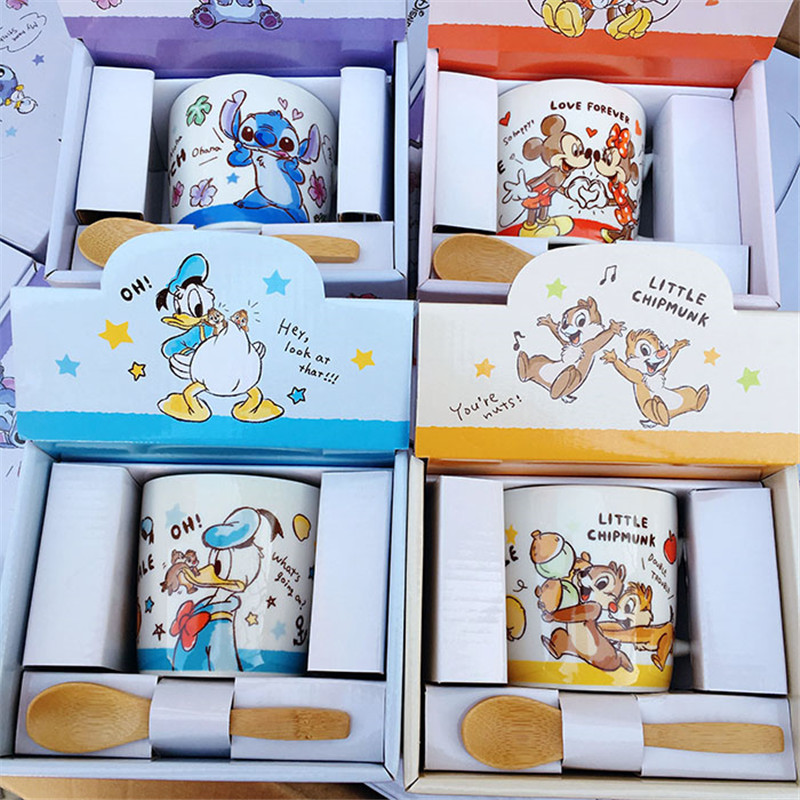 230ml Disney Minnie Mickey Duck Stitch Water Cup Milk Coffee Tea Ceramic Mug Home Office Collection Cups Festival Gifts Cups