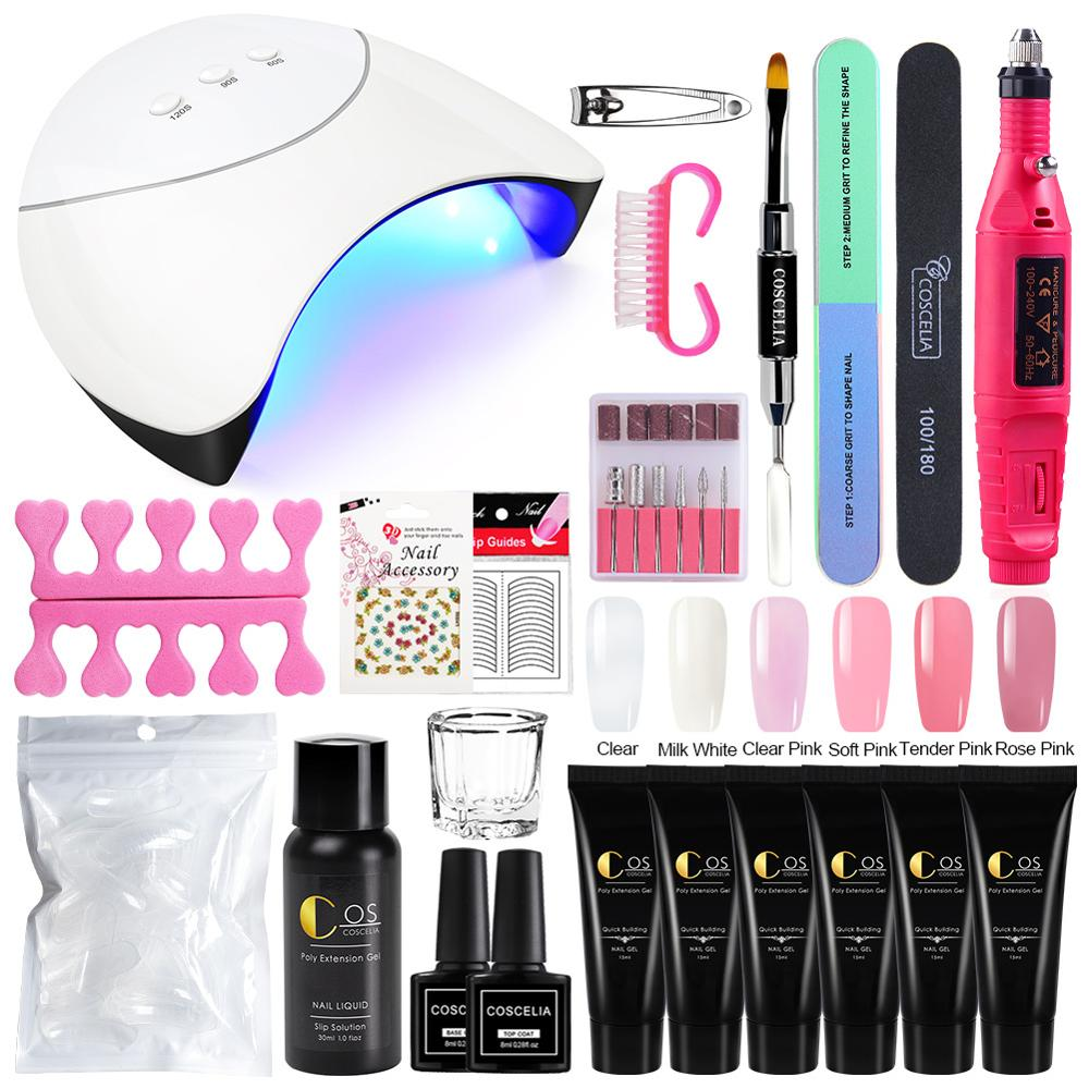 Nail Kit Poly Gel Set LED Lamp Nail Gel Polish Set Quick Building For Nail Extensions Hard Jelly Gel Manicure Set