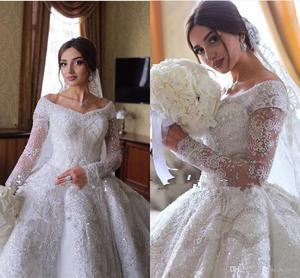 Image 1 - Sparkly Crystal Beaded Ball Gown Wedding Dresses Luxury Off Shoulder Appliqued Plus Size Saudi Arabic Dubai Bridal Gown