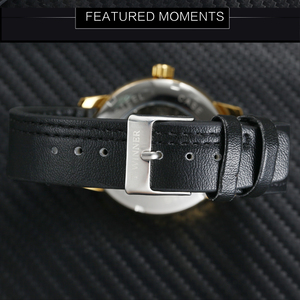 Image 5 - WINNER Official Fashion Casual Mechanical Watch Men Leather Strap Ultra Thin Dial Concise Golden Mens Watches Top Brand Luxury