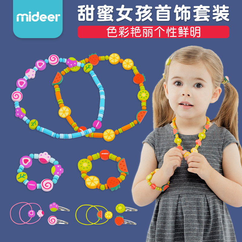 Mi Deer CHILDREN'S Toy GIRL'S Garden Fruit Headband Hairband Bracelets Necklace Jewelry Set Beaded Bracelet Wooden. 1