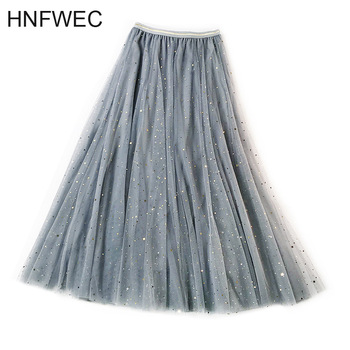 New Spring Tulle Skirts Womens Fashion Shining Star Mesh Tutu Skirt Pleated Long Skirts Midi Skirt Saias Faldas Jupe Femme V161 наволочка shining star shining star mp002xu0e2jo