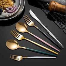Aço inoxidável conjunto de utensílios de mesa faca garfo comida ocidental europeu bife faca sobremesa colher colher de café