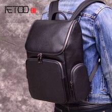 Aetoonew moda couro genuíno mochilas de alta qualidade couro real masculino coreano estudante mochila menino negócios portátil saco