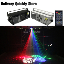 Dj LED Gobo laser strobe 4 IN 1 effect light with Remote control color 4 eyes image light good use for Home Party Disco KTV