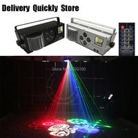 Efeito de luz Dj Gobo LEVOU strobe a laser 4 EM 1 com controle Remoto cor 4 olhos imagem luz bom uso para o Partido Home Disco KTV|Efeito de Iluminação de palco| |  -