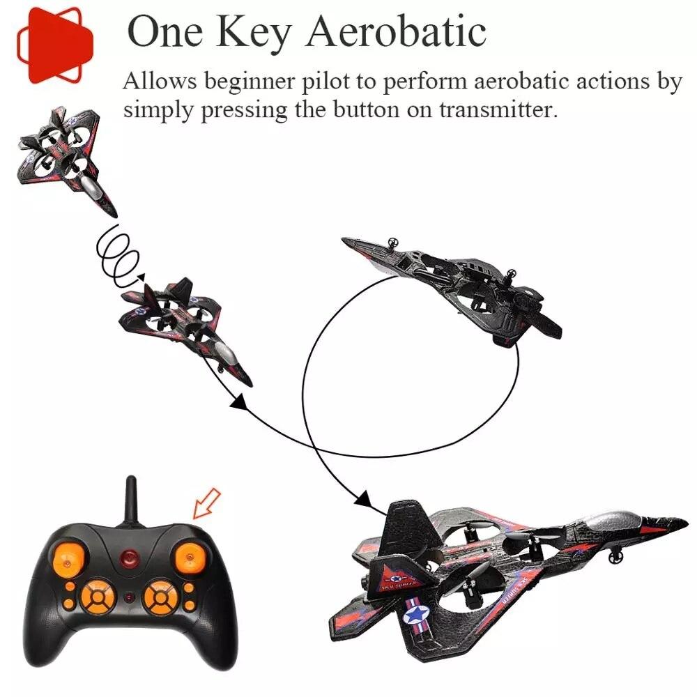 RC avion de chasse à aile fixe Drone modèle avion électrique RTF Epp mousse télécommande quadrirotor planeur avion garçons cadeau 6