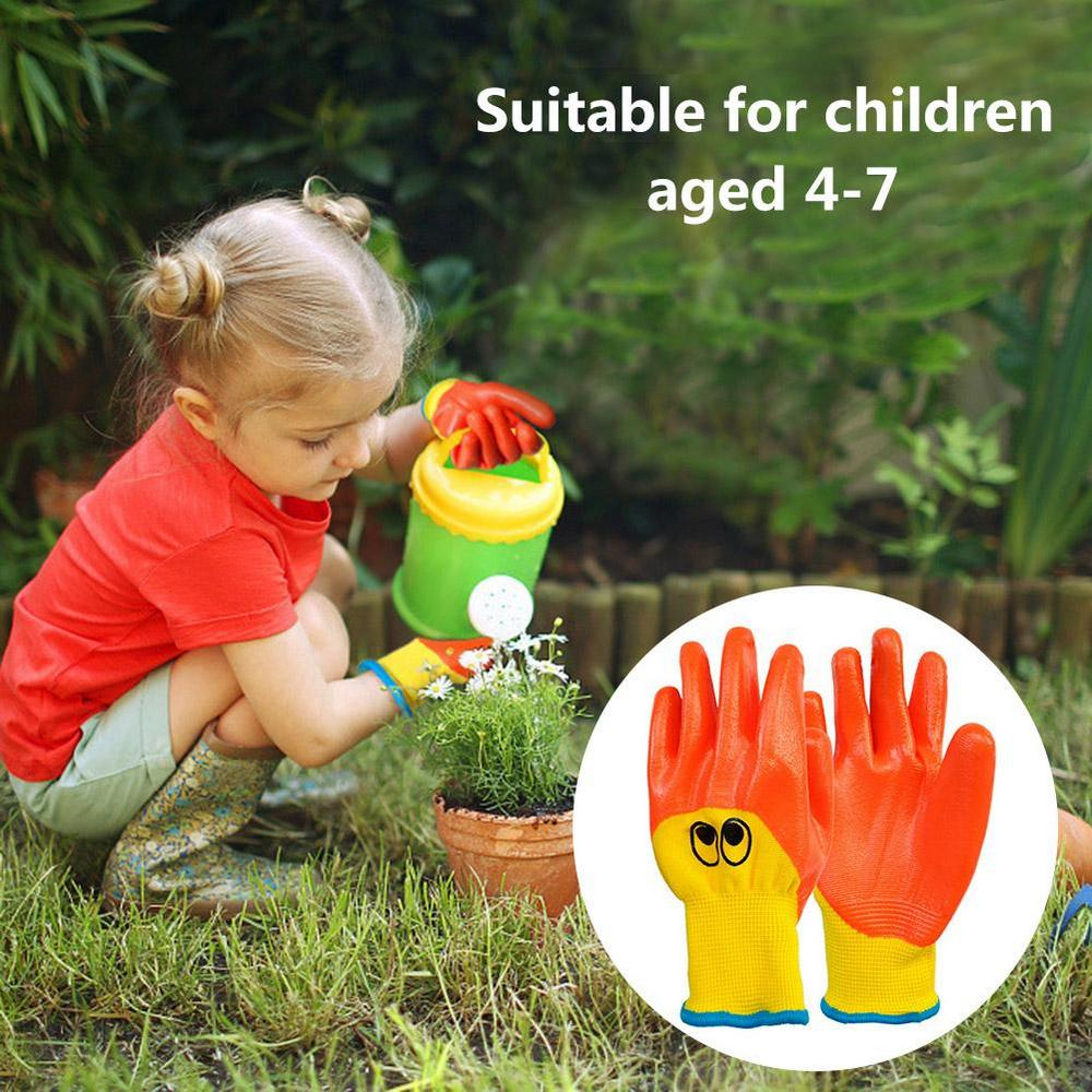 Дышащие Детские садовые перчатки, прочные водонепроницаемые маслостойкие Нескользящие защитные перчатки для малышей