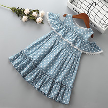 4-10 years High quality girl dress new summer fashion lace Dot solid ruched kid children clothing party princess 40