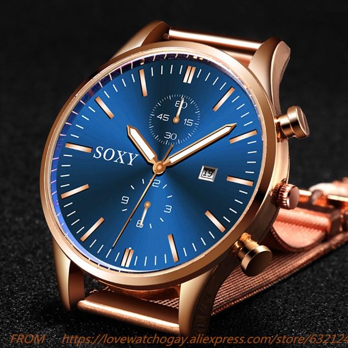 Mens Watches New Quartz Sport Dress Watch Masculino Relogio Calendar Full Stainless Steel Wristwatch Casual Hour Saati Relojes
