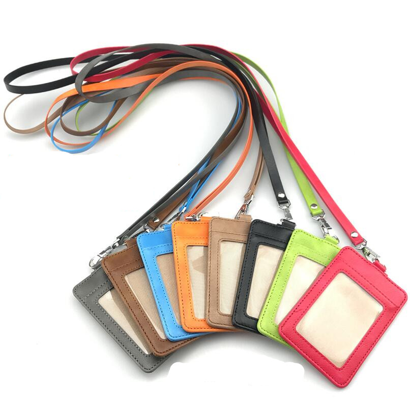 PU Leather ID Card Holder Business Card Holder With Neck Strap Lanyard Badge Holder Accessories