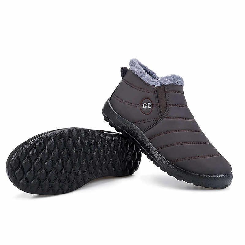 Sıcak peluş kış ayak bileği çizmeler kadın ayakkabıları 2019 slip-on su geçirmez katı ayakkabı kadın kar botları nefes alan günlük ayakkabılar kadın