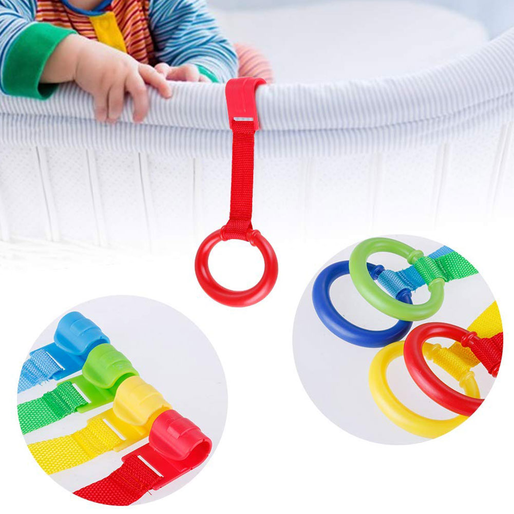 4PCS Universal Crib Fence Baby Bedding Toy Crib Hook Pull Ring Crib Baby Standing Auxiliary Pull Ring Bracket Balance Training